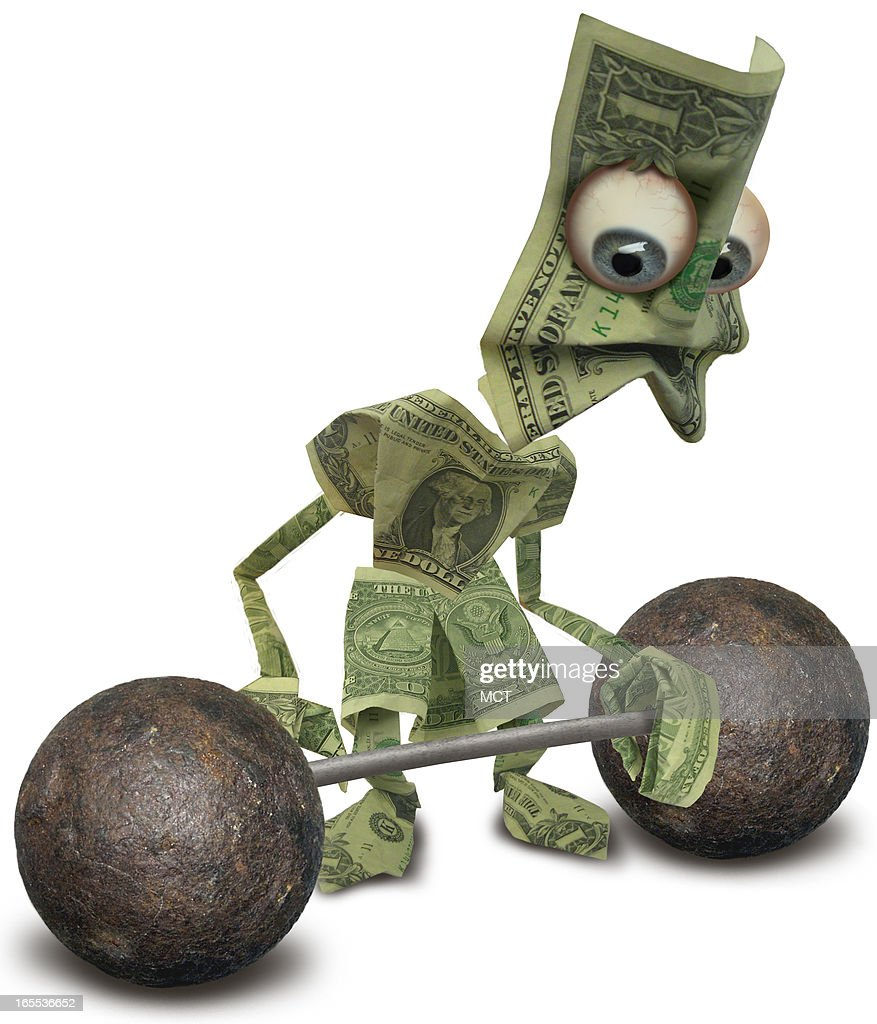 Lee Hulteng color photo illustration of a weak US dollar attempting to lift a dumbell can go with stories about the weak dollar
