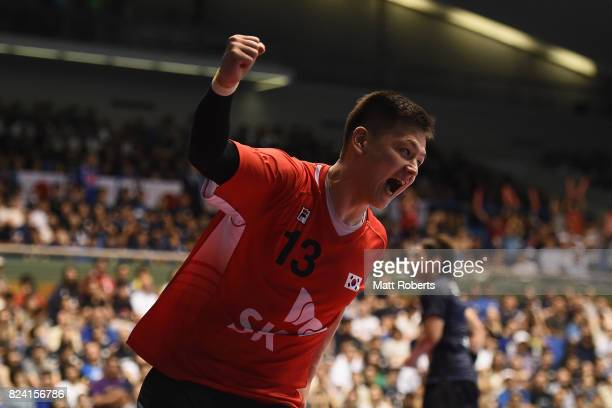 Lee Hyeonsik of South Korea celebrates scoring a goal during the men's international match between Japan and South Korea at Komazawa Gymnasium on...