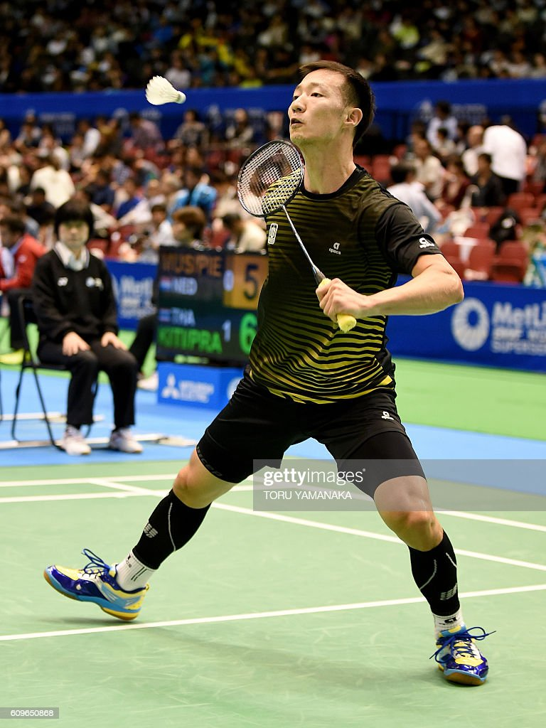 Lee Hyun Il of South Korea returns a shot against his patriot