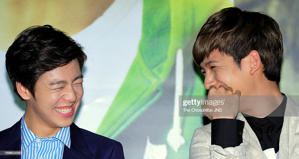 Lee HyunWoo and Park KiWoong attend the 'Secretly and Greatly' press conference at COEX Megabox on May 27 2013 in Seoul South Korea