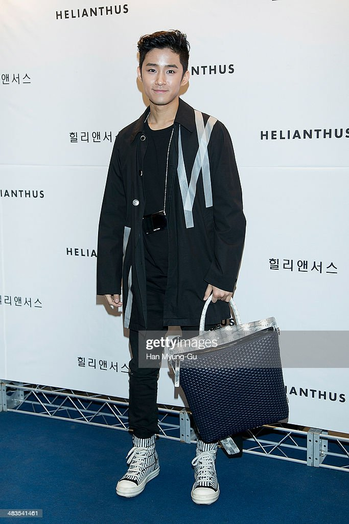 Lee JaeJin of South Korean boy band FTisland attends the 'Helianthus' 2014 S/S Lesley Line Launch event at Lotte Department Store on April 9 2014 in...