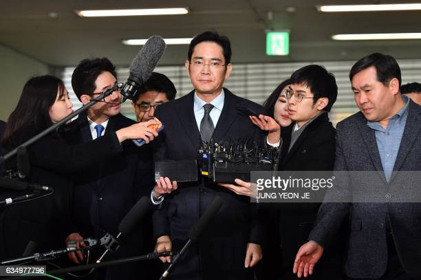 Lee Jaeyong vice chairman of Samsung Electronics arrives to be questioned as a suspect in a corruption scandal that led to the impeachment of South...