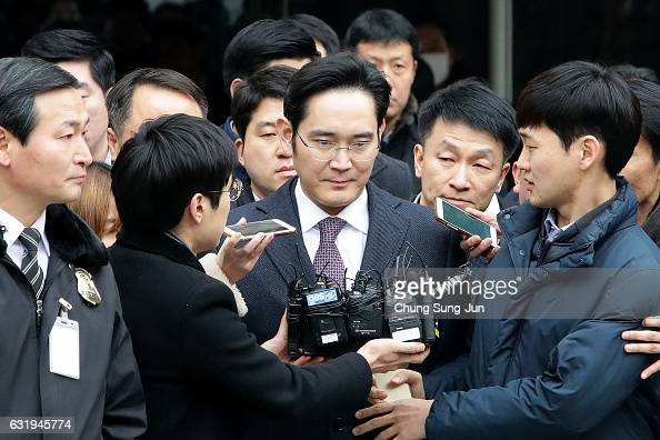 Lee JaeYong vice chairman of Samsung leaves after attending a court hearing at the Seoul Central District Court on January 18 2017 in Seoul South...