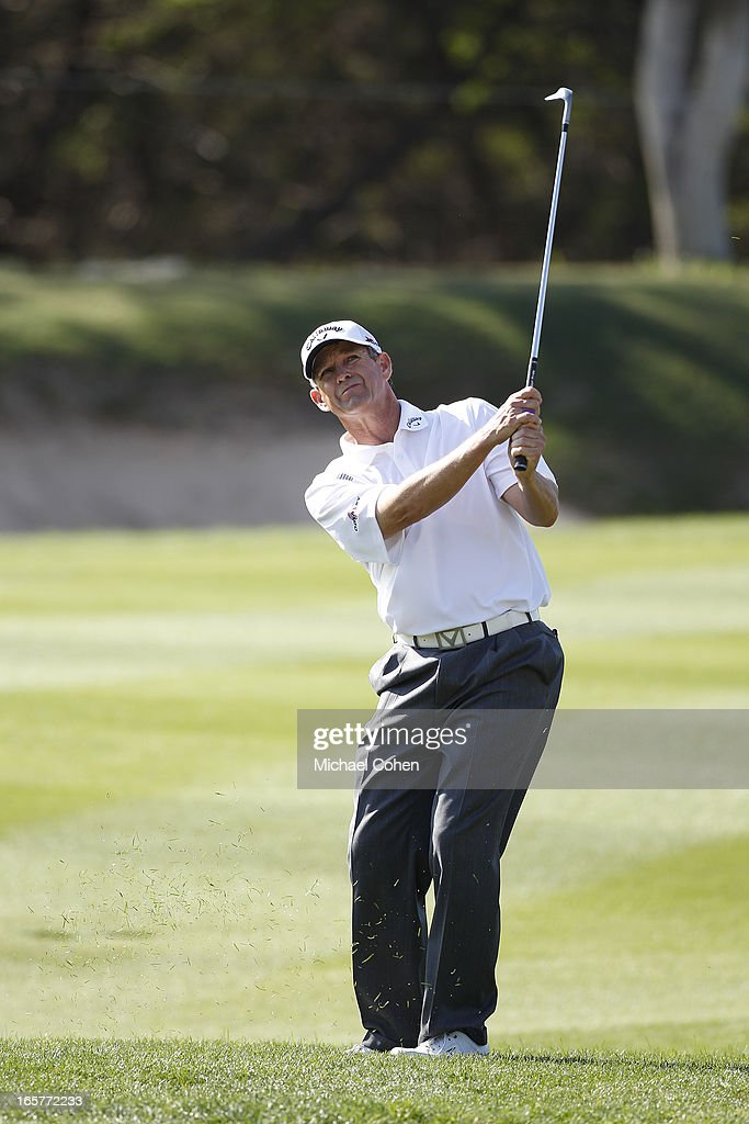 <a gi-track='captionPersonalityLinkClicked' href=/galleries/search?phrase=Lee+Janzen&family=editorial&specificpeople=209310 ng-click='$event.stopPropagation()'>Lee Janzen</a> hits his second shot on the 13th hole during the second round of the Valero Texas Open held at the AT&T Oaks Course at TPC San Antonio on April 5, 2013 in San Antonio, Texas.