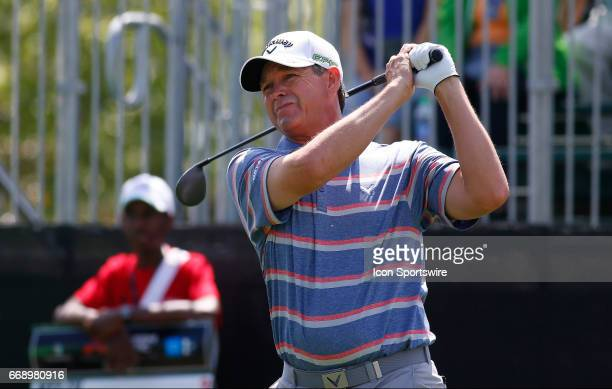 Lee Janzen tees off hole during the second round of the Mitsubishi Electric Classic tournament at the TPC Sugarloaf Golf Club Saturday April 15 in...