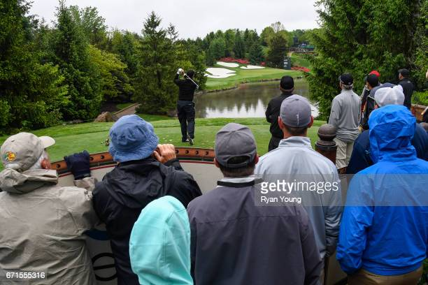 Lee Janzen tees off on the seventh hole during the first round of the PGA TOUR Champions Bass Pro Shops Legends of Golf at Big Cedar Lodge at Top of...