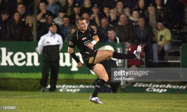 Lee Jarvis of Neath kicks a penalty during the Heineken Cup match between Neath and Leicester Tigers at The Gnoll Neath Wales on October 11 2002