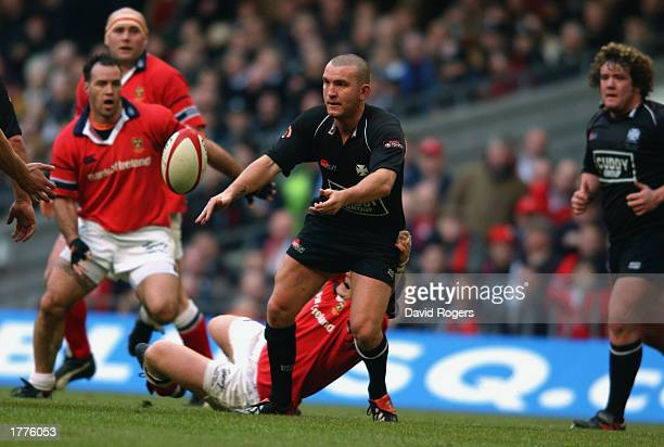 Lee Jarvis of Neath lays the ball off during the Celtic League Final between Neath and Munster held on February 1 2003 at the Millennium Stadium in...