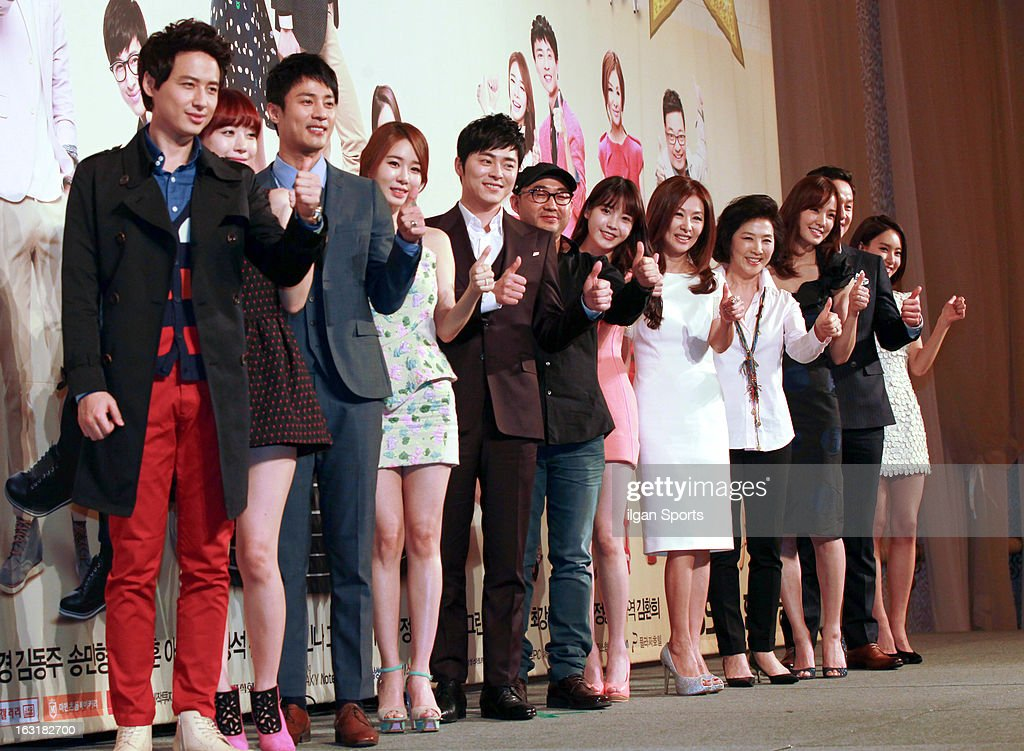Lee Jee-Hoon, Bae Green, Ko Joo-Won, Yoo In-Na, Jo Jeong-Seok, director Yoon Sung-Sik, IU, Lee Mi-Sook, Ko Du-Sim, Son Tae-Young, Jung Woo and Kim Yoon-Seo attend the KBS 2TV 'You're The Best Lee Soon-Shin' Press Conference at Seoul Plaza on March 4, 2013 in Seoul, South Korea.