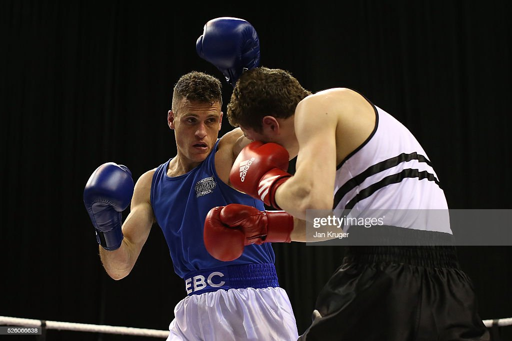 Lee Jenkins (blue) in action against Zak Chelli in their 75kg quarter final fight during day one of the Boxing Elite National Championships at Echo Arena on April 29, 2016 in Liverpool, England.