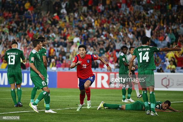 Lee Jeonghyeop of Korea Republic celebrates scoring the first goal during the Asian Cup Semi Final match between Korea Republic and Iraq at ANZ...