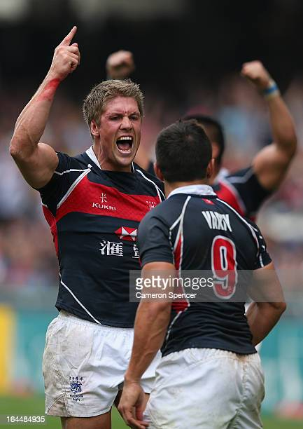 Lee Jones of Hong Kong celebrates winning the Bowl Quarter Final match between Argentina and Hong Kong during day three of the 2013 Hong Kong Sevens...