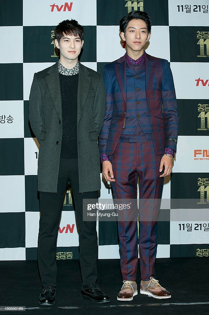 Lee Jong-Hyun and Lee Jung-Shin of South Korean boy band CNBLUE attend tvN Drama 'Cheongdamdong 111' press conference at CGV on November 18, 2013 in Seoul, South Korea. The drama will open on November 21, in South Korea.