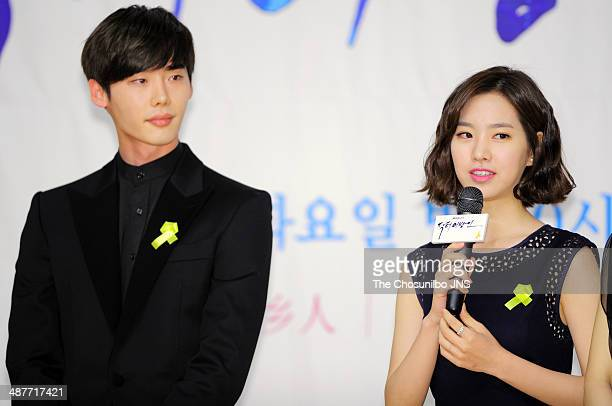 Lee JongSuk and Jin SeYeon attend the SBS drama 'Doctor Stranger' press conference at SBS broadcasting center on April 29 2014 in Seoul South Korea