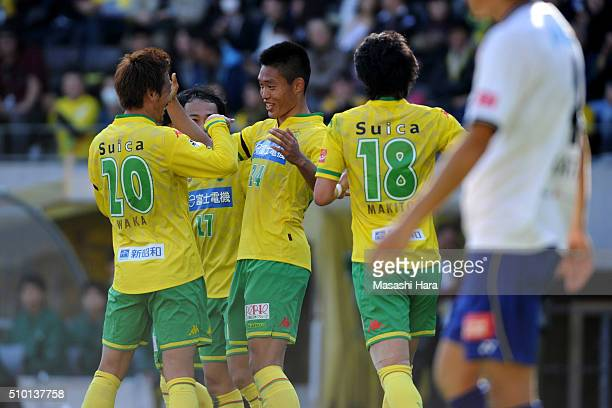 Lee Joo Young of JEF United Chiba celebrates the third goal during the preseason friendly match between JEF United Chiba and Kashiwa Reysol at the...