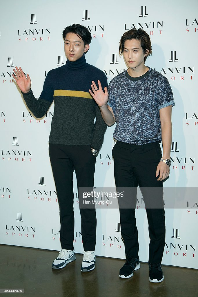 Lee Jung-Shin and Lee Jong-Hyun of South Korean boy band CNBLUE attend 'Lanvin Sport' FW 2014 Grand Open on August 29, 2014 in Seoul, South Korea.