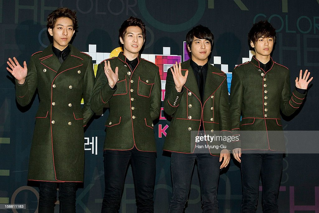 Lee Jung-Shin, Lee Jong-Hyun, Jung Yong-Hwa and Kang Min-Hyuk of South Korean boy band CNBLUE arrive at the 2012 SBS Korea Pop Music Festival named 'The Color Of K-Pop' at Korea University on December 29, 2012 in Seoul, South Korea.