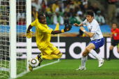 Lee JungSoo of South Korea scores the equalising goal past Vincent Enyeama of Nigeria during the 2010 FIFA World Cup South Africa Group B match...