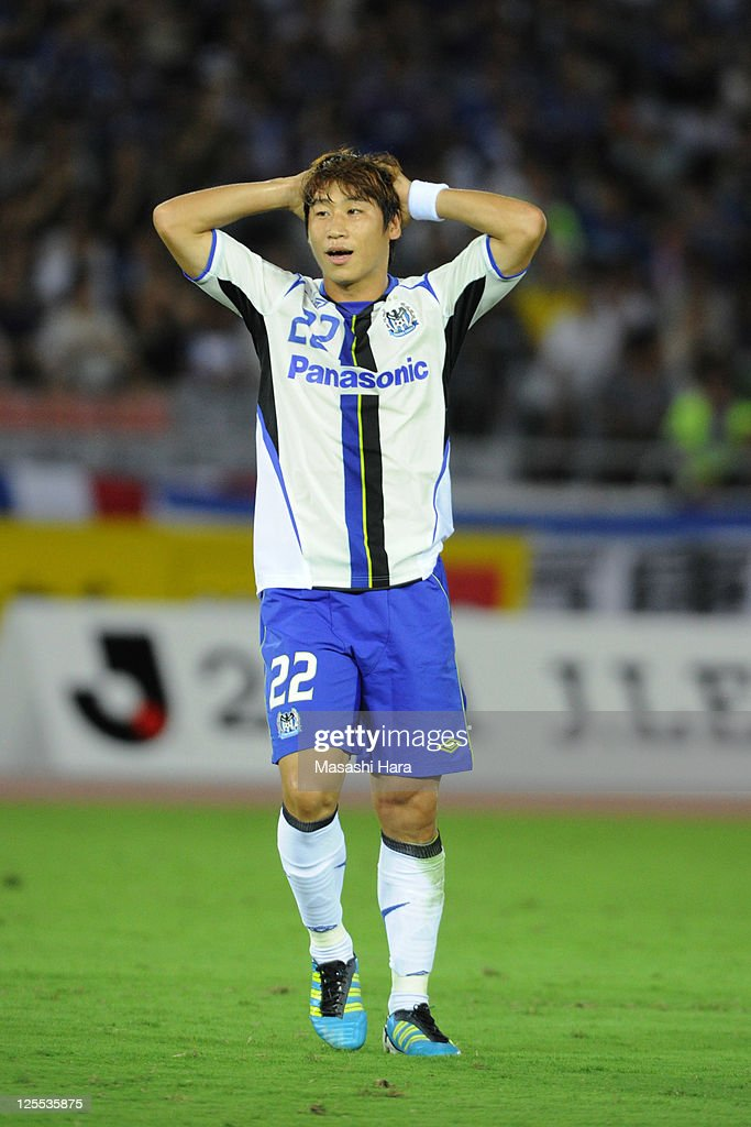 Lee Keun Ho #22 of Gamba Osaka reacts during J.League match between Yokohama F. Marinos and Gamba Osaka at Nissan Stadium on September 18, 2011 in Yokohama, Japan.