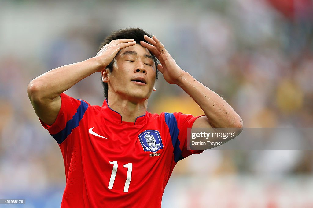 Lee Keun Ho of Korea Republic reacts after missing a goal during the 2015 Asian Cup match between Korea Republic and Uzbekistan at AAMI Park on January 22, 2015 in Melbourne, Australia.