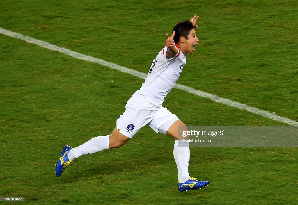 Lee Keun-Ho of South Korea celebrates scoring his team's first goal during the 2014 FIFA World Cup Brazil Group H match between Russia and South Korea at Arena Pantanal on June 17, 2014 in Cuiaba, Brazil.