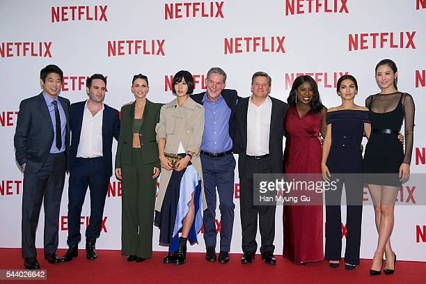 Lee KiHong Josh Wakely Ruby Rose Bae DooNa Uzo Aduba Elodie Yung Claudia Kim and Ted Sarandos attend the '2016 Netflix Night In Seoul' at DDP on June...