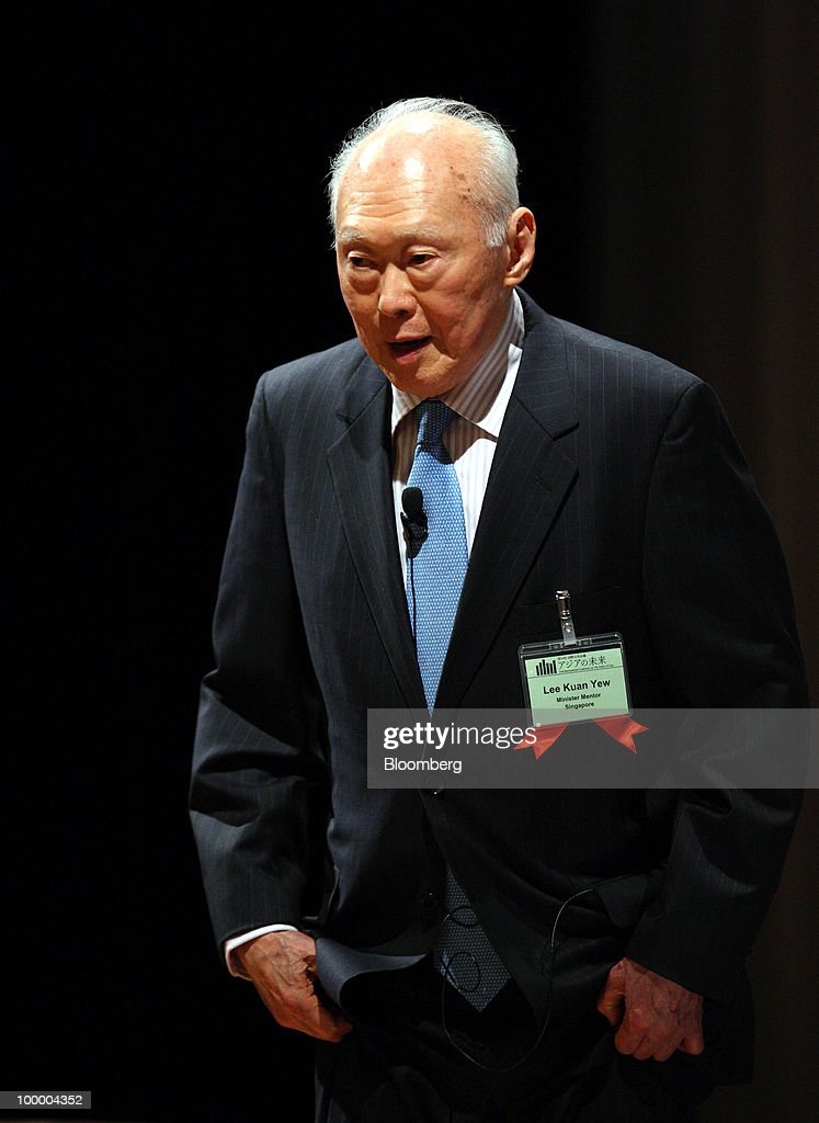 Lee Kuan Yew, minister mentor of Singapore, bows as he arrives for the 16th International Conference on The Future of Asia in Tokyo, Japan, on Thursday, May 20, 2010. The conference hosted by the Nikkei newspaper will be held through May 21. Photographer: Tomohiro Ohsumi/Bloomberg via Getty Images