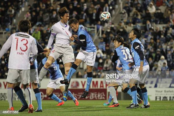 Lee KwangSeon of Avispa Fukuoka scores his team's first goal during the JLeague second division match between Jubilo Iwata and Avispa Fukuoka at...