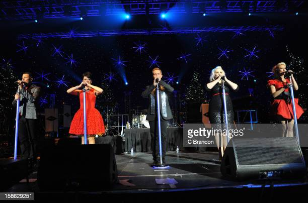 Lee LatchfordEvans Lisa ScottLee Ian 'H' Watkins Claire Richards and Faye Tozer of Steps perform on stage at the Hit Factory Live Christmas Cracker...