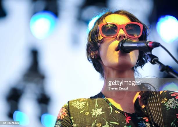 Lee Lindberg of Warpaint performs at FYF Festival on September 1 2012 in Los Angeles California