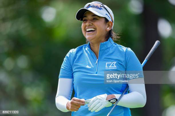 Lee Lopez has a laugh after teeing off on the 1st hole during the second round of the Canadian Pacific Women's Open on August 25 2017 at The Ottawa...