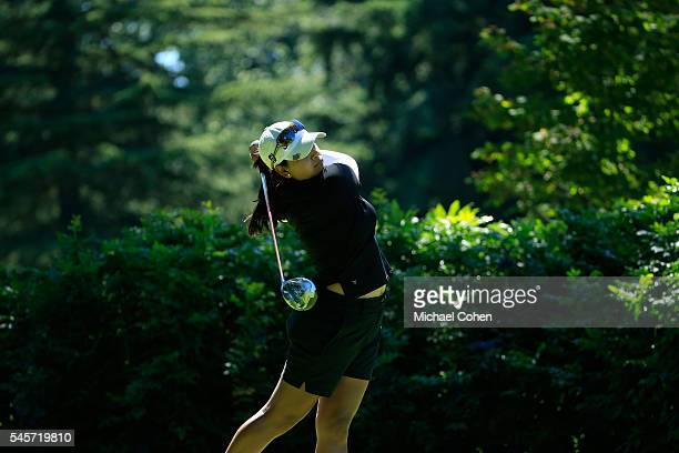 Lee Lopez hits a drive during the third round of the Cambia Portland Classic held at Columbia Edgewater Country Club on July 2 2016 in Portland Oregon