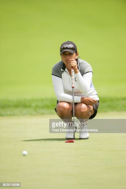 Lee Lopez of the United States reads her putt on the sixth hole during Round One for the 2017 KPMG Women's PGA Championship held at Olympia Fields...
