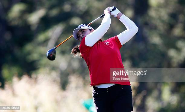 Lee Lopez of the United States tees off on the second tee during the second round of the Canadian Pacific Women's Open at Priddis Greens Golf and...