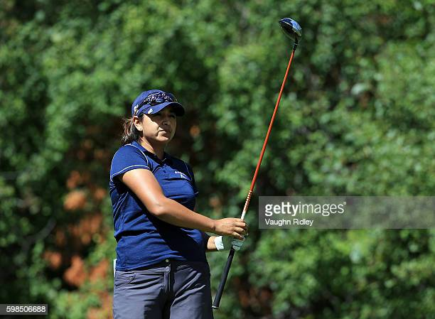 Lee Lopez of the USA takes her tee shot on the 18th hole during the first round of the Manulife LPGA Classic at Whistle Bear Golf Club on September 1...