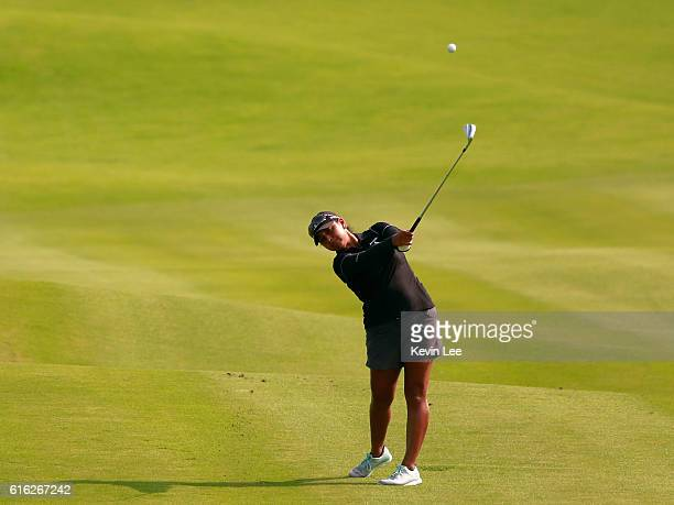 Lee Lopez of United States hit an approaching shot on the 18th green during Round 3 of Blue Bay LPGA on Day 3 on October 22 2016 in Hainan Island...
