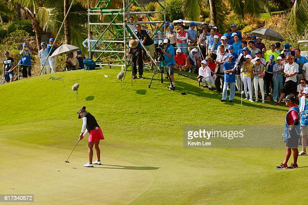Lee Lopez of United States hits a putt on the 18th green during the final round of the Blue Bay LPGA on Day 4 on October 23 2016 in Hainan Island...