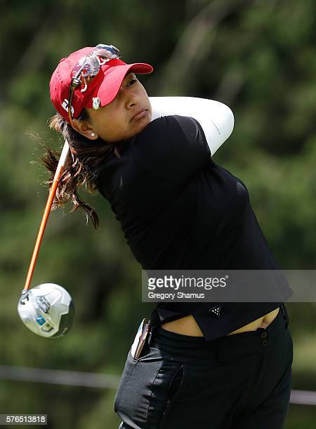 Lee Lopez watches her drive on the 18th hole during the second round of the Marathon Classic presented by Owens Corning and OI at Highland Meadows...