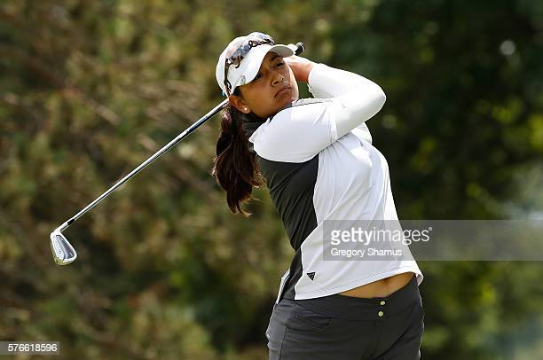 Lee Lopez watches her tee shot on the second hole during the third round of the Marathon Classic presented by Owens Corning and OI at Highland...