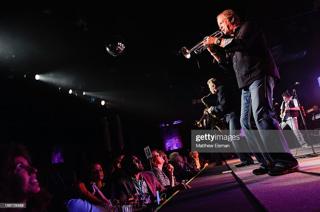 Lee Loughnane of the rock band Chicago performs on stage during the 2012 Musicians On Call benefit concert at B.B. King Blues Club & Grill on November 19, 2012 in New York City.