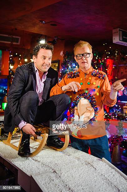Lee Mack and Chris Evans during a live broadcast of 'TFI Friday' on December 18 2015 in London England