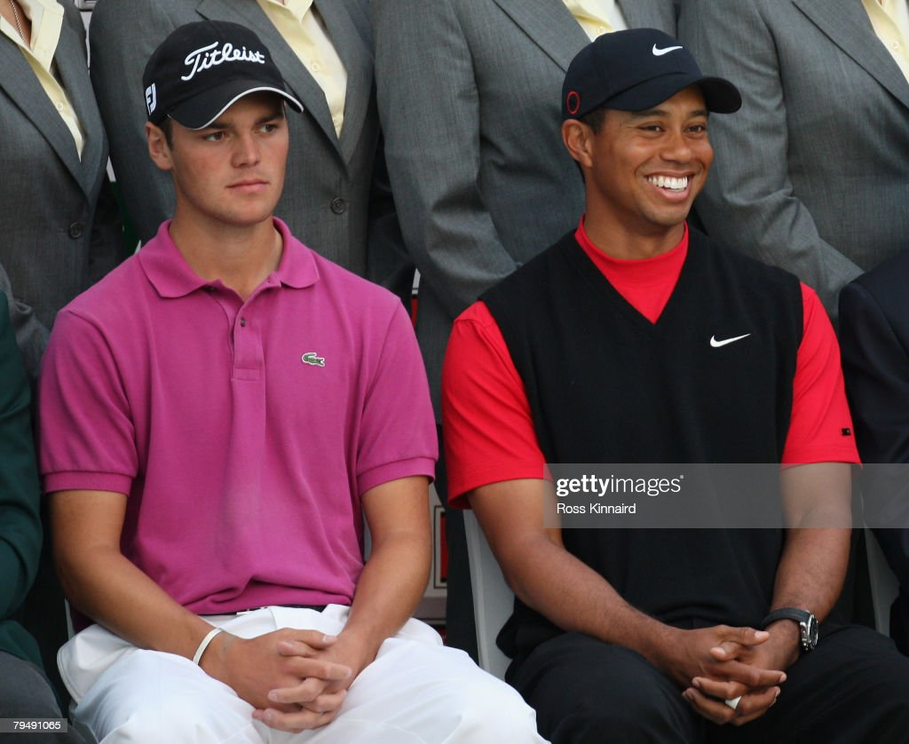Lee Martin Kaymer of Germany and Tiger Woods of the USA after round of the Dubai Desert Classic on the Majlis Course held at the Emirates Golf Club on February 3, 2008 in Dubai,United Arab Emirates.
