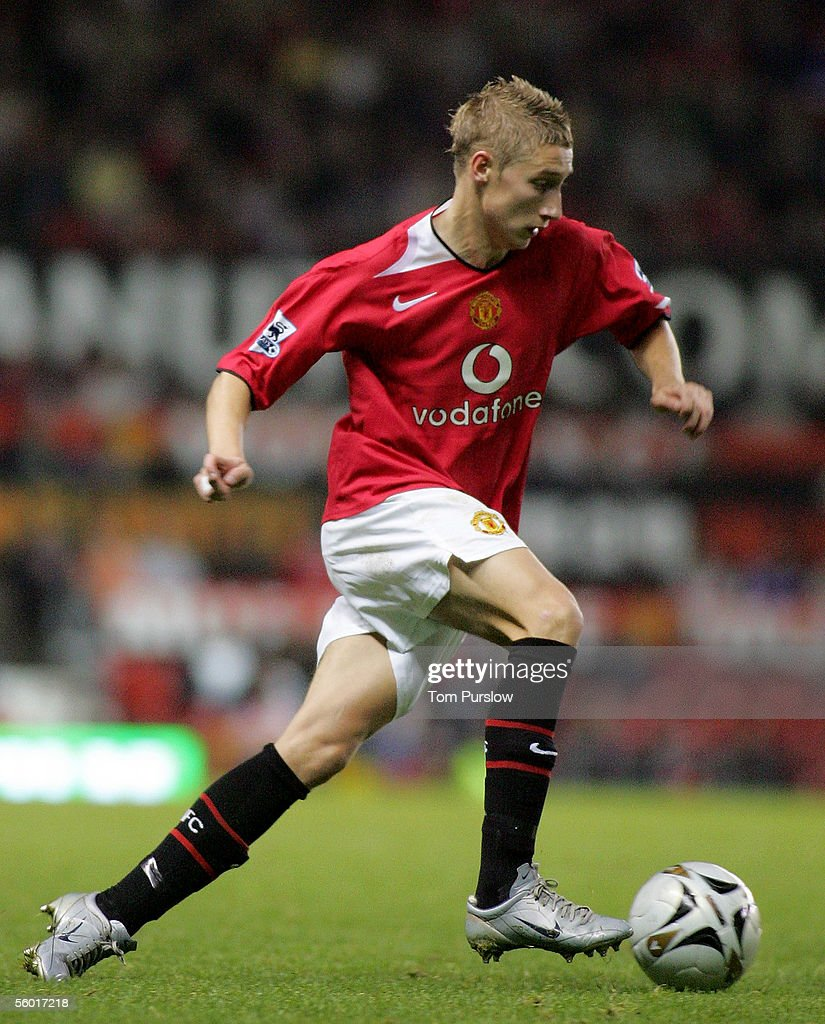 Lee Martin of Manchester in action on the ball during the Carling Cup third round match between Manchester United and Barnet at Old Trafford on...
