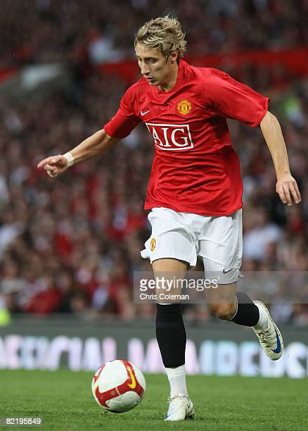 Lee Martin of Manchester United in action during the preseason friendly match between Manchester United and Juventus at Old Trafford on August 6 2008...