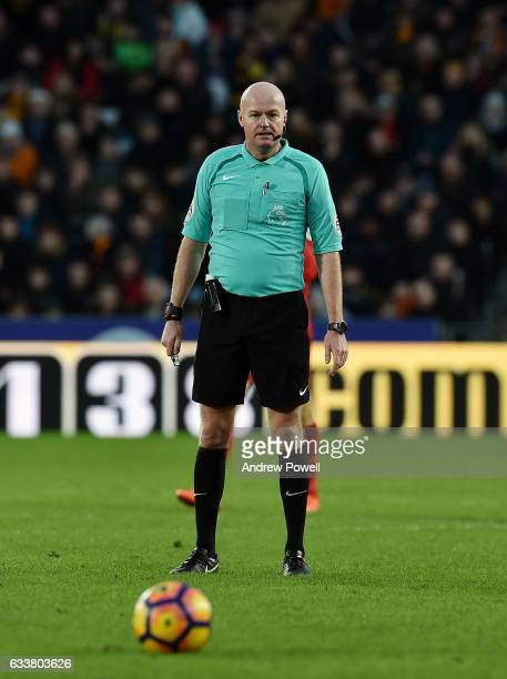 Lee Mason Referee during the Premier League match between Hull City and Liverpool at KCOM Stadium on February 4 2017 in Hull England
