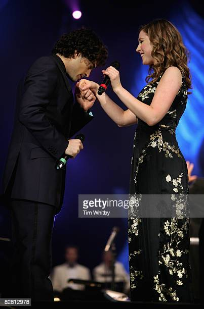Lee Mead and Hayley Westenra performs at Andrew Lloyd Webber's Birthday in the Park on September 14 2008 in Hyde Park in London England