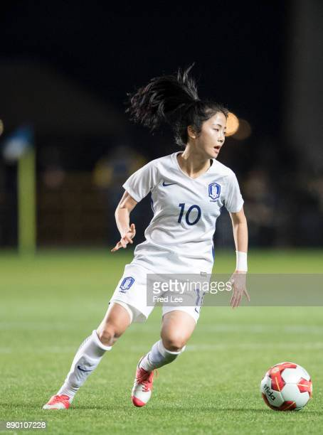 Lee mina of South Korea in action during the EAFF E1 Women's Football Championship between North Korea and South Korea at Fukuda Denshi Arena on...