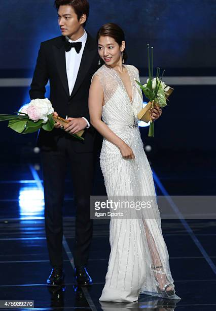 Lee MinHo and Park ShinHye attend the 51st Baeksang Arts Awards at Grand Peace Palace in Kyung Hee University on May 26 2015 in Seoul South Korea