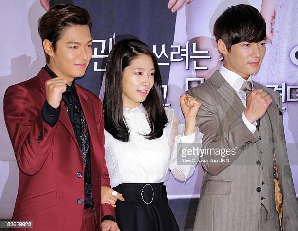 Lee MinHo Park ShinHye and Choi JinHyuk attend the SBS Drama 'The Heirs' press conference at Patio9 on October 7 2013 in Seoul South Korea