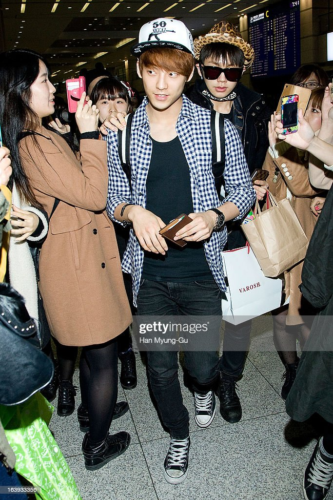 Lee Min-Hyuk of South Korean boy BtoB is seen upon arrival at Incheon International Airport on March 17, 2013 in Incheon, South Korea.